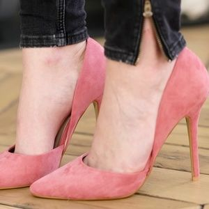 Pink Suede D'Orsay Heels